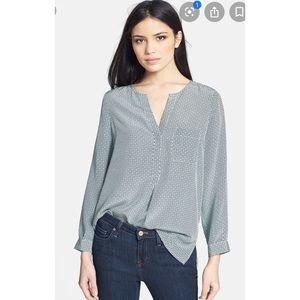 Joie Diamond Pattern Silk Blouse Sz Lg